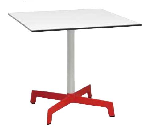 【テーブル/ガーデン】スプートニクテーブル80x80/ホワイト天板+レッドベース【屋内 屋外 室内 ベランダ 角型 送料別 家庭用】