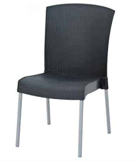 【イス/ガーデン】イネオサイドチェア/02チャコール【51cm(幅) x60cm(奥行) x91cm(高さ) 屋内 屋外 室内 ベランダ 椅子 いす 送料別 家庭用】