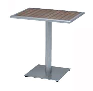 【テーブル/ガーデン】NC ROMビストロテーブル55x75/シルバー+ブラウン【屋内 屋外 室内 ベランダ 角型 送料別 家庭用】