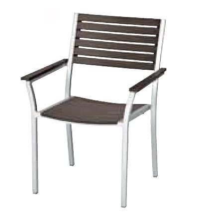 【イス/ガーデン】サンレノアームチェア/シルバー+ブラウン【64cm(幅) x59cm(奥行) x88cm(高さ) 屋内 屋外 室内 ベランダ 椅子 いす 送料別 家庭用】