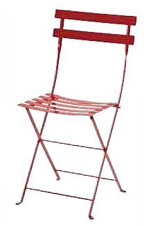 【イス/ガーデン】メタルフォールディングチェア/67レッド【38cm(幅) x42cm(奥行) x83cm(高さ) 屋内 屋外 室内 ベランダ 椅子 いす 送料別 家庭用】