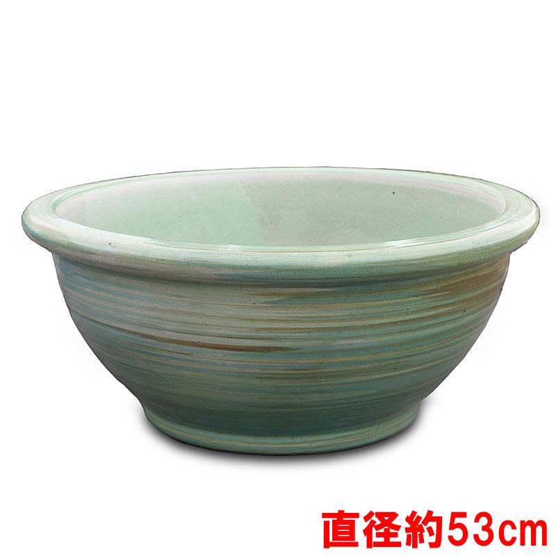 【化粧鉢】睡蓮鉢 フローズンミストグリーン FMG-02 直径約53cm【睡蓮鉢 ガーデン 鉢 庭 鉢】