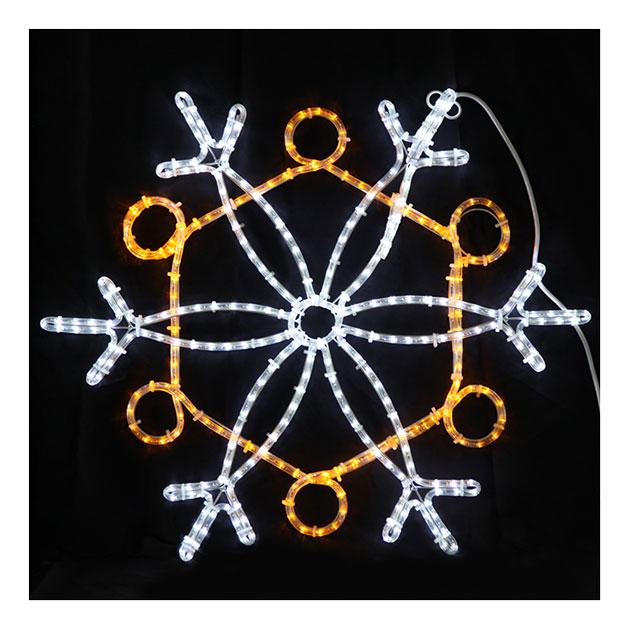 2Dスノーフレーク白・黄色 L2DM239【コロナ産業 イルミネーション モチーフ LED 照明 ライト スノー 雪】