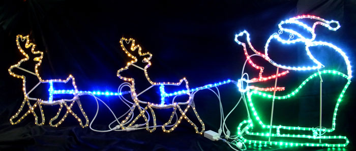 2Dモチーフ トナカイ&プレゼントサンタ L2DM298【コロナ産業 イルミネーション モチーフ LED 照明 ライト クリスマス サンタ】