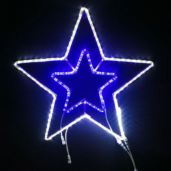 2Dスターモチーフ スター70 白&青色 L2DM508【コロナ産業 イルミネーション モチーフ LED 照明 ライト クリスマス】