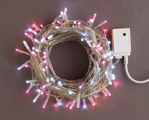 LEDライト100球(コントローラー点滅)白・ピンク LSK100WP スタンダード【コロナ産業 イルミネーション 電飾 LED ライト】