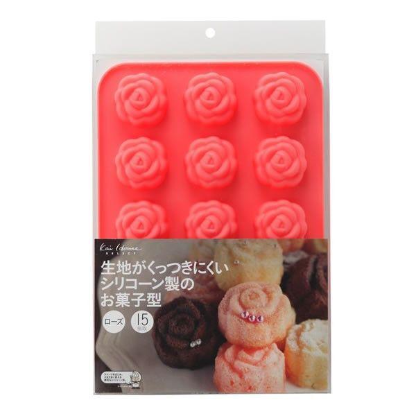 シリコンミニマフィン型 お菓子 型 シリコーン製 お菓子型 ローズ15個取り kai House SELECT DL-6249【シリコンミニマフィン型】