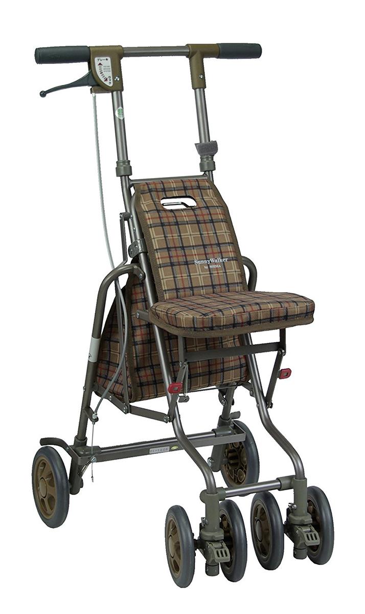 介護 歩行器 シルバーカー 福祉 サニーウォーカーAW- 島製作所 シルバーカー 歩行器 座面つきタイプ [SG規格適合商品]