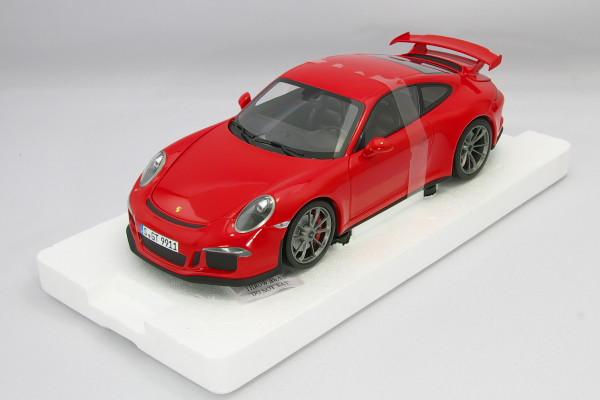<中古・美品>ミニチャンプス 1/18 ポルシェ 911 GT3 (991) レッド ポルシェ・ディーラー特注 モデル フル開閉