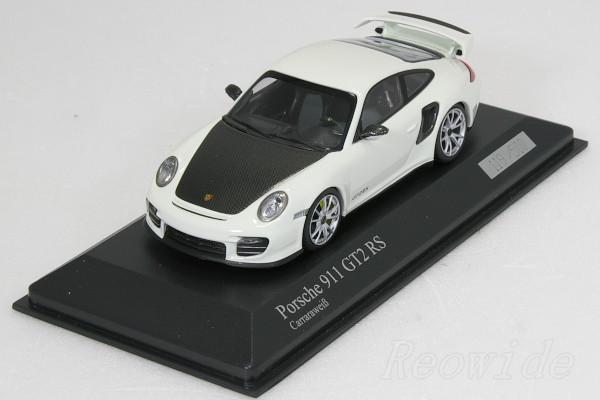 ミニチャンプス 1/43 ポルシェ 911 (997 ll) GT2 RS 2010 ホワイト / カーボン xシルバーホイール 500台限定