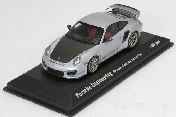 ミニチャンプス 1/43 ポルシェ 911 (997) GT2 RS シルバー xカーボンボンネット 80台限定