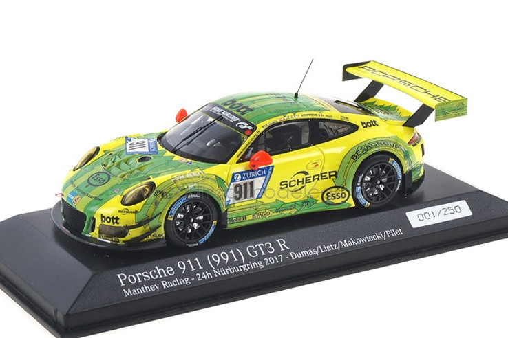 ミニチャンプス 1/43 ポルシェ 911 (991) GT3 R ニュルブルクリンク24時間耐久レース 2017 イエロー/グリーン 250台限定 Minichamps 1:43 Porsche 911 GT3 R 24h Nürburgring 2017 Dumas / Lietz / Pilet yellow/green Limited Edition 250 pcs