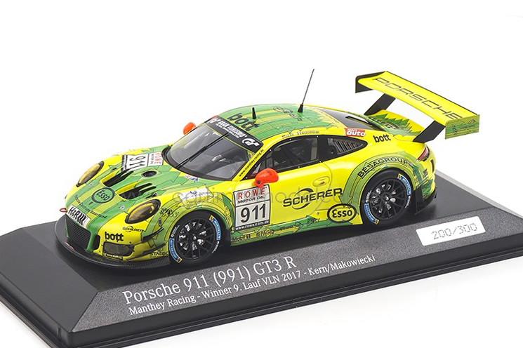 ミニチャンプス 1/43 ポルシェ 911 (991) GT3 R 勝者 第9ラウンド VLN 2017 イエロー/グリーン 300台限定 Minichamps 1:43 Porsche 911 GT3 R Winner 9. Lauf VLN 2017 yellow/green Limited Edition 300 pcs