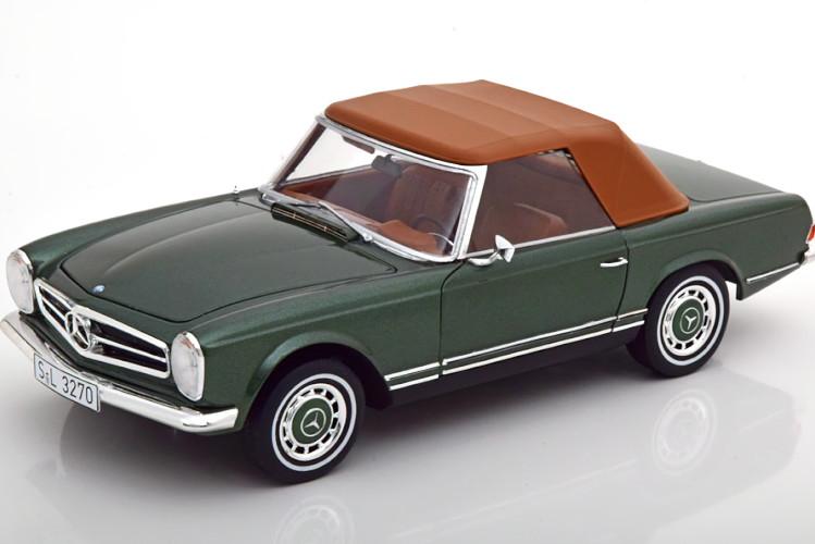 シュコー W113 280 SL メルセデス SL W113 removable Mercedes 1963-1971 Schuco brown 280 1:18 取り外し可能ソフトトップ付き メタリックグリーン 1963-1971 greenmetallic ブラウン with Softtop 1/18