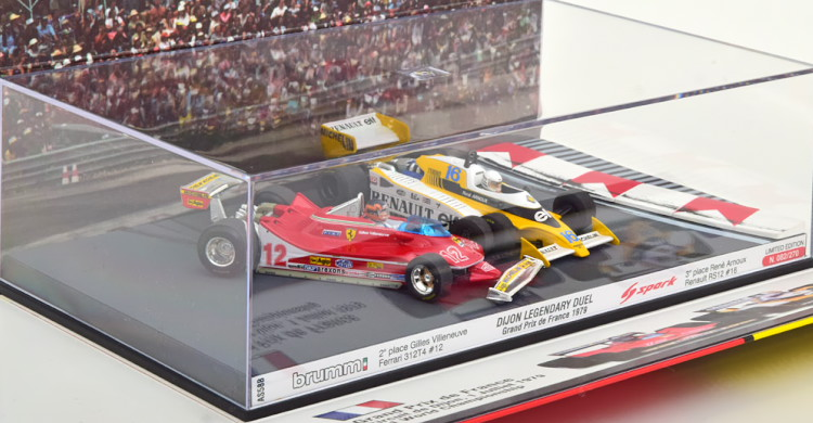 スパーク/Brumm 1/43 フェラーリ / ルノー 312 T4 / RS12 Duell GP France 1979 Ferrari/Renault Villeneuve/Arnoux Limited Edition 270 pcs