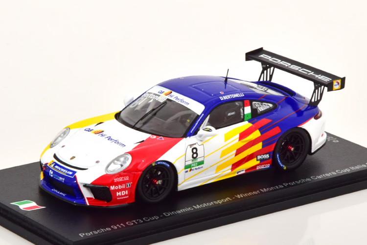 スパーク 1/43 ポルシェ 911 991 GT3 カップ 優勝 Monza ポルシェ カレラ カップ 2019 300台限定 ホワイト/ブルー Spark 1:43 Porsche 911 GT3 Cup Winner Monza Porsche Carrera Cup 2019 Bertonelli Limited Edition 300 pcs White blue
