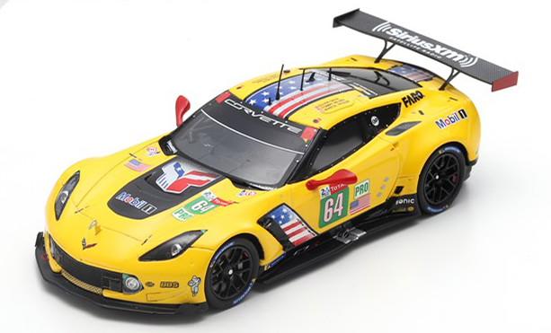 スパーク 1/43 シボレー コルベット C7 R 64番 ル・マン24時間耐久レース 2019 イエロー Spark 1:43 Chevrolet Corvette C7.R No 64 24h Le Mans 2019 Gavin/Milner/Fässler yellow