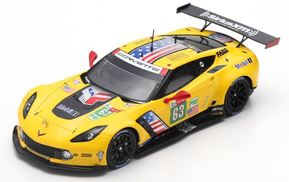 スパーク 1/43 シボレー コルベット C7 R 63番 ル・マン24時間耐久レース 2019 イエロー Spark 1:43 Chevrolet Corvette C7.R No 63 24h Le Mans 2019 Magnussen/Garcia/Rocke yellow
