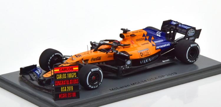 アメリカGP GP MCL34 Jr. マクラーレン 1:43 サインツJr. 2019 ブラック/オレンジ GP スパーク 1/43 USA MCL34 Spark McLaren 100th 2019 100thGP black/orange Sainz