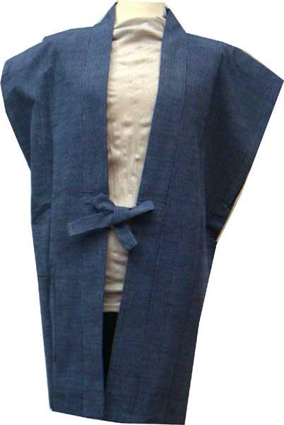 かねろく会津木綿 着物用上っ張り 袖なし半天 男性サイズいまではとっても貴重な原山織物工場製紺細縞 1枚限定 再入荷はございません。sodenasi-m05