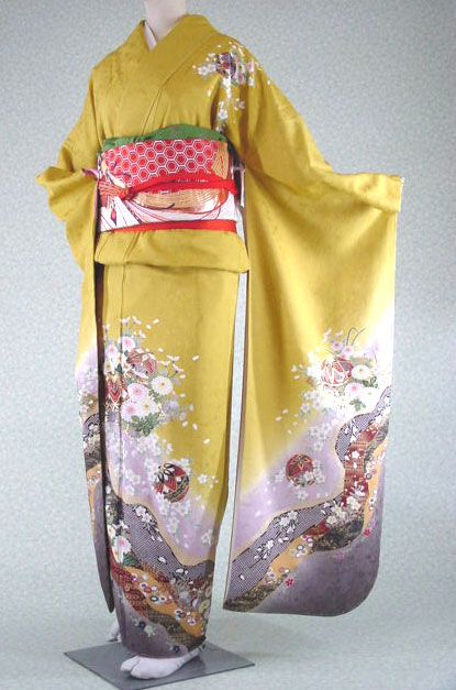 交換無料! お仕立て上がり正絹振袖着物単品 金茶がかった黄色地の地紋付き綸子801, ミトヨグン:0dc487d3 --- beautyflurry.com