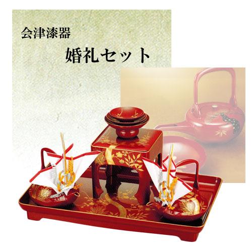 寿 朱 17.0 婚礼セット 松竹梅(手描き) 銚子飾り付 ウレタン塗装 米寿祝 正月 ギフト【19-84-2】