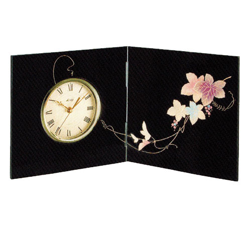 時計 黒 屏風 時計 ツタ 木材繊維(MDF)製 カシュー塗装 誕生日 お祝い返し お悔み返し プレゼント ギフト【20-22-4】
