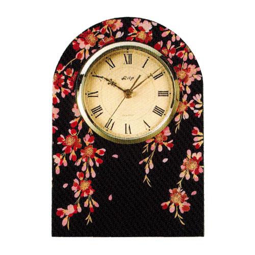 時計 黒 アーチ 時計 しだれ桜 木材繊維(MDF)製 カシュー塗装 誕生日 お祝い返し お悔み返し プレゼント ギフト【20-22-7】