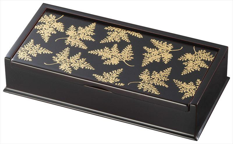 溜 フリーボックス(大) しのぶ (内布貼り) 木繊 会津漆器 (化粧箱入 日本製・国産 実寸:21.5×10.7×4.6cm )【19-13-8】