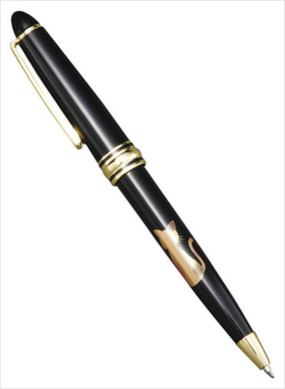 黒 漆芸ボールペン 予約販売 ネコ アクリル樹脂 20-30-3 実寸:φ1.2×13.5cm 与え プラケース入 輸入加工品
