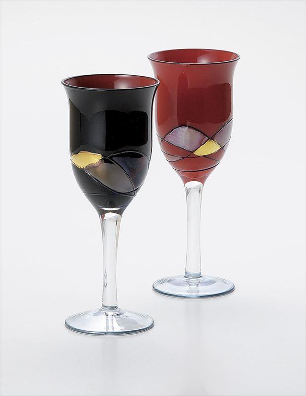 黒内朱・朱 エストレモワインペア ガラス 2客 (化粧箱入 中国産品 実寸:φ7×18cm )【19-115-1】