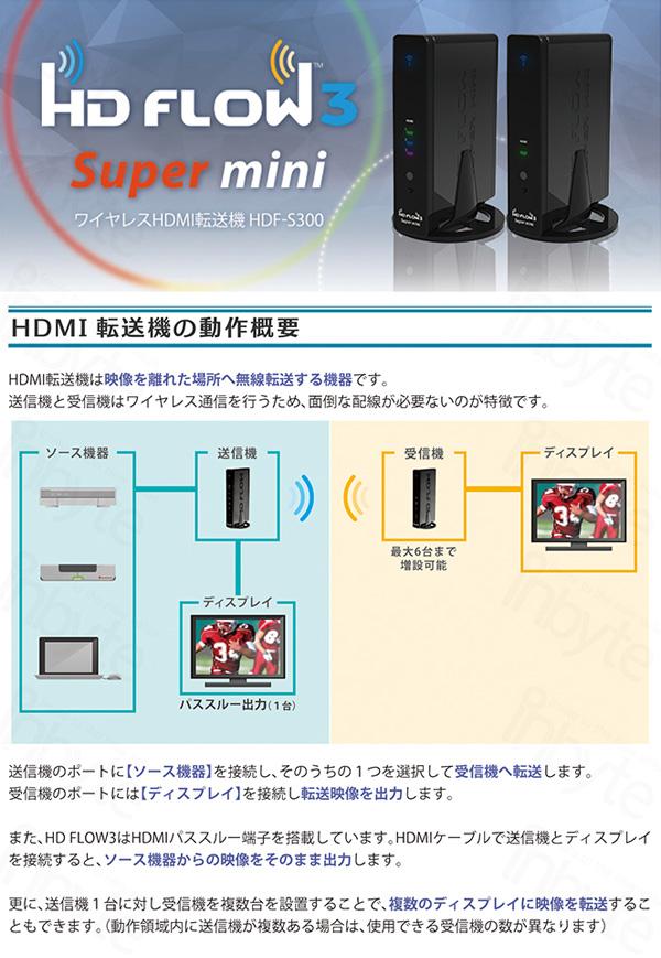 【送料無料】無線HDMI転送機 HD FLOW3 Super mini HDF-S300(送信機1台、受信機1台セット)!【マラソン201611_送料込み】