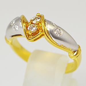 半額■トレベール TRES BELLE【ダイヤモンド】K18イエローゴールド/ ホワイトゴールドデザインリング[代引き不可]【楽ギフ_包装選択】
