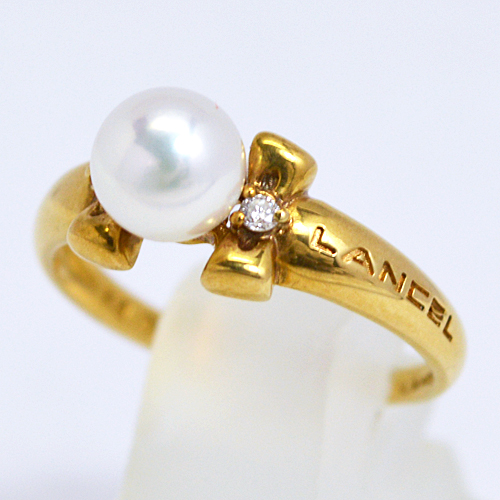 LANCEL[ランセル]■K18ゴールド【パール 真珠 ダイヤモンド デザインリング】F0187 [代引不可]【楽ギフ_包装選択】
