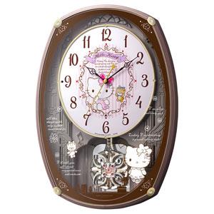 ■リズム時計【ハローキティ M540】電波掛時計 アミュージングクロック メロディ付き 4MN540MB13  [代引不可]【楽ギフ_包装選択】