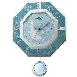 ■RHYTHM リズム時計【ディズニー アナと雪の女王 振り子時計】電波掛時計 8MX405MC04  [代引不可]【楽ギフ_包装選択】