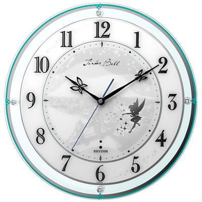 リズム時計■ディズニー 電波掛時計【ティンカーベル】スワロフスキー 4MY854MT05  [代引不可]【楽ギフ_包装選択】