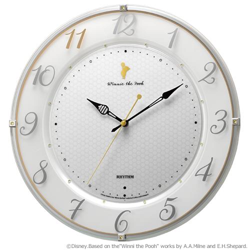 リズム時計■ディズニー 電波掛時計【くまのプーさん】スワロフスキー 8MY542MC03 [代引不可]【楽ギフ_包装選択】