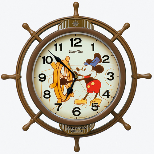 ■SEIKO[セイコー] 電波掛時計 振子時計【ディズニー ミッキーマウス 操舵輪】蒸気船ウィリー FW583A [代引不可]【楽ギフ_包装選択】.
