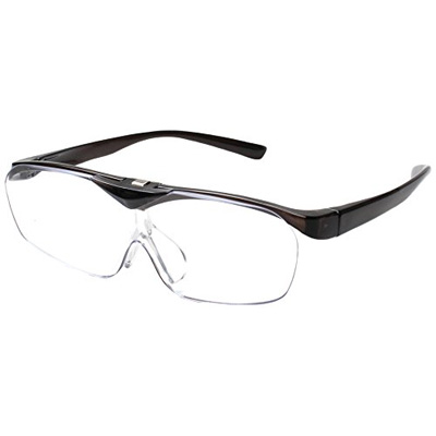 両手が使える 眼鏡の上からもOK ■メガネタイプ 拡大鏡 人気ブランド ハネアゲルーペ SMART EYE スマートアイ 楽ギフ_包装選択 跳ね上げ 共栄 SE-101 定番 後払不可 ダークグレー FSL-01-1