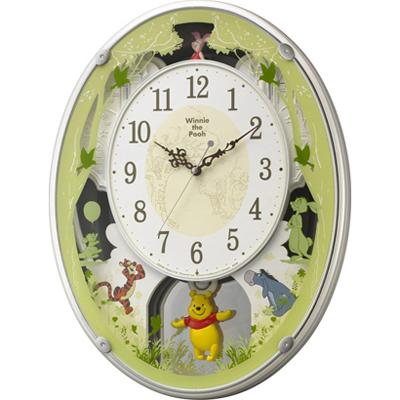 ■RHYTHM リズム時計【ディズニー くまのプーさん M523 電波掛時計】アミュージングクロック 4MN523MC03 [代引不可] [代引不可]【楽ギフ_包装選択】