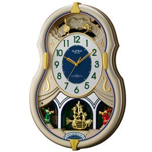 ■リズム時計【スモールワールドカラーズ 電波掛け時計】 アミュージング時計 4MN543RH18 [代引不可]【楽ギフ_包装選択】