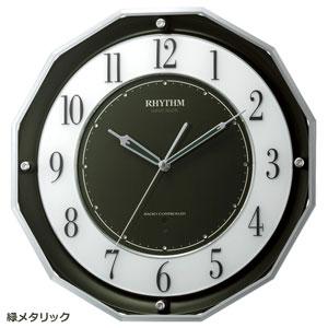■リズム時計【スリーウェイブ M846】電波掛時計高感度電波時計 緑メタリック 4MY846SR05 [代引不可]【楽ギフ_包装選択】.