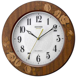 [後払い・代引き不可]■リズム時計 電波掛時計【アマービレM520】象嵌細工 木枠 日本製 8MY520SR06【楽ギフ_包装選択】