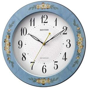 ■リズム時計 電波掛時計【アマービレM521】象嵌細工 木枠 青 8MY521SR04 [代引不可]【楽ギフ_包装選択】