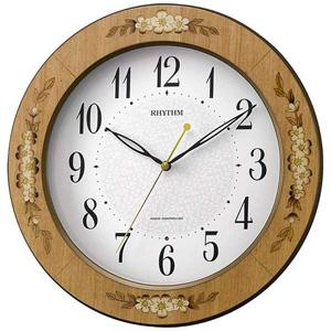 ■リズム時計 電波掛時計【アマービレM521】象嵌細工 木枠 茶色 8MY521SR06 [代引不可]【楽ギフ_包装選択】