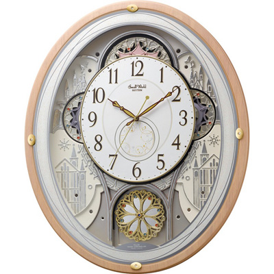 [代引き不可]●リズム時計 電波掛時計【スモールワールドエアル】<BR> からくり時計 メロディ付 4MN525RH13【楽ギフ_包装選択】