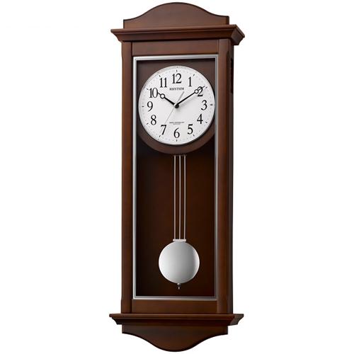 ■リズム時計 電波掛時計 振子時計【シューマスR】木枠 報時 前扉式 4MN552SR06 [代引不可]【楽ギフ_包装選択】