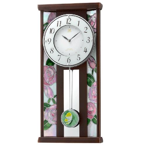 ■リズム時計 JAPAN MADE 電波掛時計 振子時計【RHG-M007 ステンドグラス】木枠 4MX406HG06 [代引不可]【楽ギフ_包装選択】.