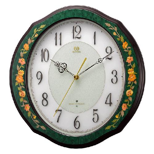 ■リズム時計 イタリア製象嵌細工 電波掛時計【RHG-M89 緑象嵌仕上げ】木枠 4MY748HG05 [代引不可]【楽ギフ_包装選択】.